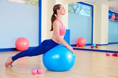 Pilates woman fitball swan exercise workout Royalty Free Stock Photos