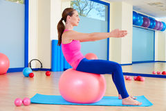 Pilates woman fitball swiss ball exercise workout Royalty Free Stock Photos