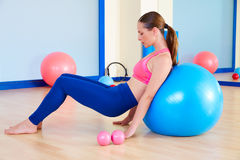 Pilates woman fitball swiss ball exercise workout Royalty Free Stock Photography
