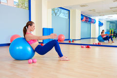 Pilates woman fitball swiss ball exercise workout Stock Photography