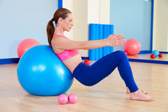 Pilates woman fitball swiss ball exercise workout Stock Images