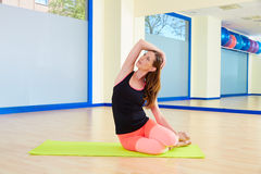 Pilates woman mermaid exercise workout at gym Stock Photography