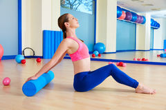 Pilates woman roller exercise workout at gym Royalty Free Stock Image