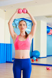 Pilates woman sand balls exercise workout at gym Royalty Free Stock Images