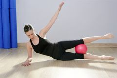 Pilates woman stability ball gym fitness yoga. Exercises girl Stock Photos