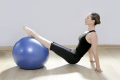 Pilates woman stability ball gym fitness yoga Royalty Free Stock Image