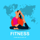 Pilates woman stability ball gym fitness yoga, vector illustration Stock Images