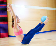 Pilates woman stability ball teaser exercise. Workout at gym indoor Stock Images