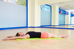 Pilates woman stretching exercise workout at gym. Indoor Royalty Free Stock Photos