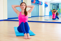 Pilates woman stretching exercise workout at gym Royalty Free Stock Photos