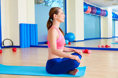 Pilates woman stretching exercise workout Royalty Free Stock Image