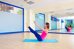 Pilates woman teaser exercise workout at gym Stock Photography