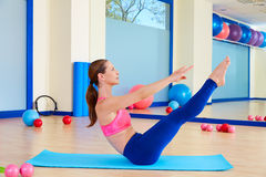 Pilates woman teaser exercise workout at gym Stock Photos