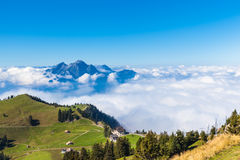 Pilatus above the cloud. Stunning view of the Pilatus above the clouds from top of Rigi mountain, Lucerne, Switzerland Royalty Free Stock Photography