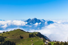 Pilatus above the sea of clouds Royalty Free Stock Image