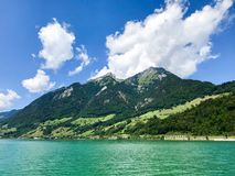 Upward view of MT Pilatus. Pilatus, also often referred to Mount Pilatus, is a mountain massif overlooking Lucerne in Central Switzerland. It is composed of royalty free stock photography