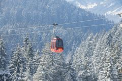 Pilatus cable car leading to Pilatus mountain, Lucern, Switzerland. Royalty Free Stock Photo