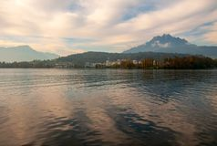 Pilatus mountain seen from a passenger boat stock image