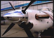 Pilatus PC-12 aircraft propeller blades. Closeup chrome Stock Image