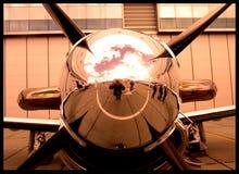 Pilatus PC-12 aircraft propeller blades. Closeup chrome Royalty Free Stock Photo