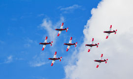 Pilatus PC7 Formation. Photograph taken during the Gothenburg 2010 Aero Show, where the Swiss team Pilatus PC-7 shows impressive in-flight precision Royalty Free Stock Photo