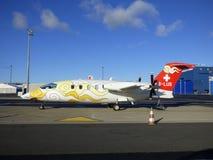 Pilatus. Sunny Air Piaggio P-180 Avanti II, registation HB-LUS, in Tallinn Airport Royalty Free Stock Photo