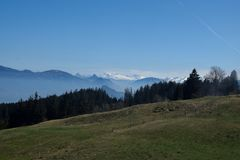 Pilatus in Switzerland, Mount Pilatus. View from Pilatus. Mount Pilatus, is a mountain massif overlooking Lucerne in Central Switzerland. It is composed of stock images