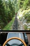 Pilatus train of Mount Pilatus on the Swiss alps. Pilatus train, the world's steepest cogwheel railway nears the top of Mount Pilatus on the Swiss alps Royalty Free Stock Photos
