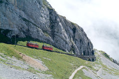 Pilatus train of Mount Pilatus on the Swiss alps Stock Image