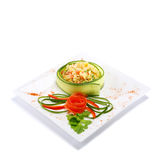 Pilau. Gourmet pilau decorated with vegetables Stock Image