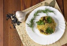 Pilau com carne, bérberis, zira, salsa e aneto Fotografia de Stock Royalty Free
