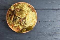 Pilau do arroz com o cordeiro aéreo Imagens de Stock