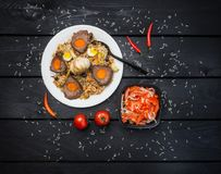 Pilau e achichuk na placa branca Fundo escuro de madeira Culinária do Central-asiático - Plov Vista superior Fotos de Stock
