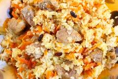 Pilau met vlees, close-up Stock Foto's