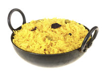 Pilau Rice. In a tradition dish isolated ,white, background Stock Photo