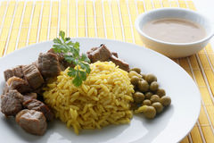 pilau rice with grilled beef goulash Royalty Free Stock Photos
