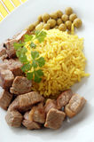pilau rice with grilled beef goulash Stock Photo