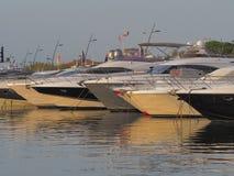 Pilbågarna av flera yachter royaltyfri foto