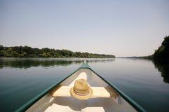 Pilbåge av en kanot på floden Sava, Serbia arkivfoton