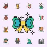 Pilb?ge gr?n symbol Universell upps?ttning f?r StPatricks dagsymboler f?r reng?ringsduk och mobil stock illustrationer