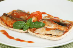 Pilchards on toast Stock Photo