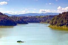 Pilchowice lake and Karkonosze mountains. At background Stock Photo