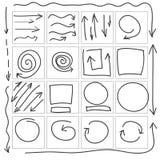 Pilcirklar och den abstrakta vektorn för klotterhandstildesign ställde in Arkivbild