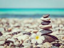 Pile équilibrée de pierres de zen avec la fleur de plumeria Images libres de droits