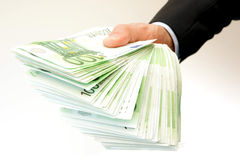 Pile of 100 euro bills Royalty Free Stock Photo