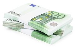 Pile of 100 Euros. Hand made clipping path included Royalty Free Stock Photography