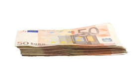 Pile of 50 euro bills Stock Photo