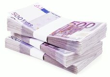 Pile of 500 Euros Royalty Free Stock Image