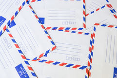Pile of air mail envelope Royalty Free Stock Images