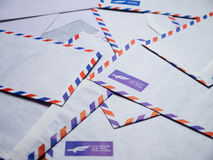 A pile of airmail envelopes Stock Image